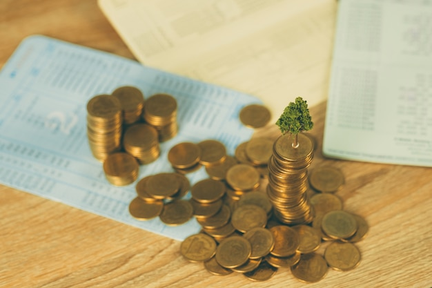 Tree growing on pile of golden coins and account book Premium Photo