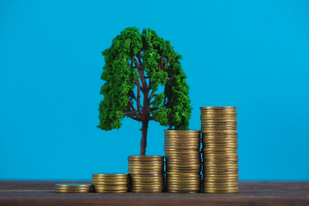 Tree growing on pile of golden coins, Premium Photo