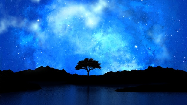 Tree silhouetted against a starry night sky Free Photo