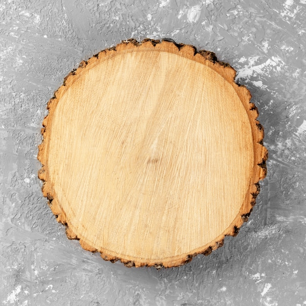 Tree stump round cut with annual rings Premium Photo