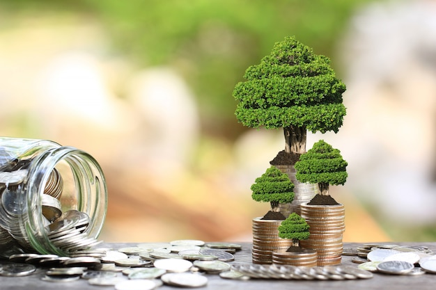 Trees growing on coins money and glass bottle Premium Photo