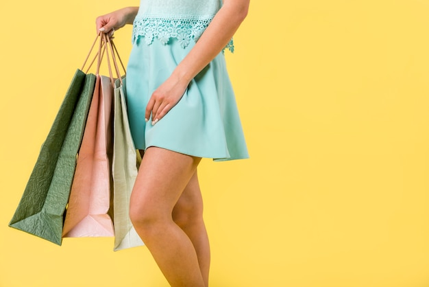 Trendy female with multicolored bags Free Photo