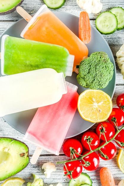 Trendy vegetable ice cream popsicles Premium Photo