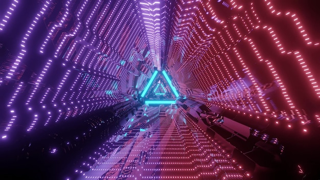 Triangle shape endless abstract tunnel with glowing lights in darkness of 3d illustration Premium Photo