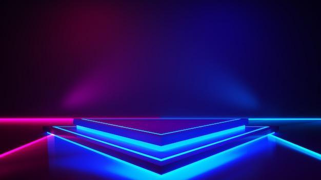 Triangle stage with smoke and purple neon light Premium Photo