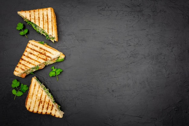Triangular sandwiches on slate with copy space Premium Photo