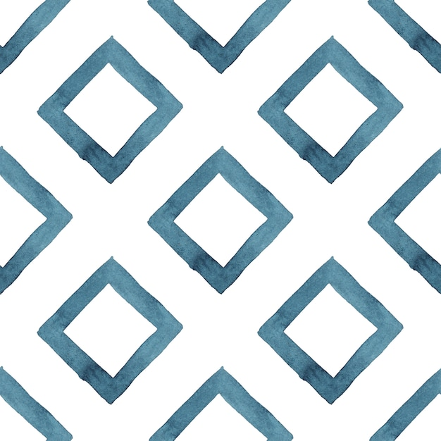 Tribal geometric blue abstract seamless pattern Premium Photo