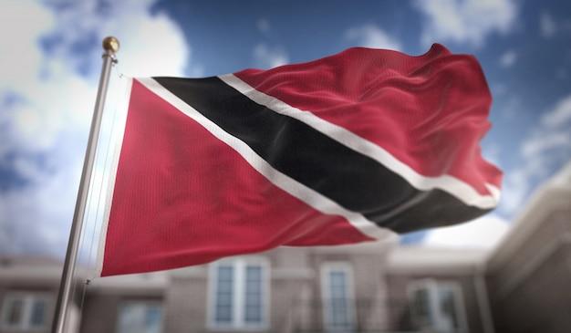 Trinidad and tobago flag 3d rendering on blue sky building background Premium Photo