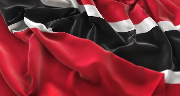 Trinidad and tobago flag ruffled beautifully waving macro close-up shot Free Photo