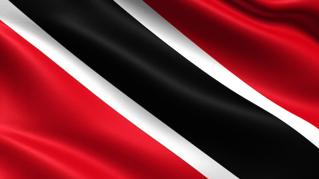 Trinidad and tobago flag, with waving fabric texture Premium Photo