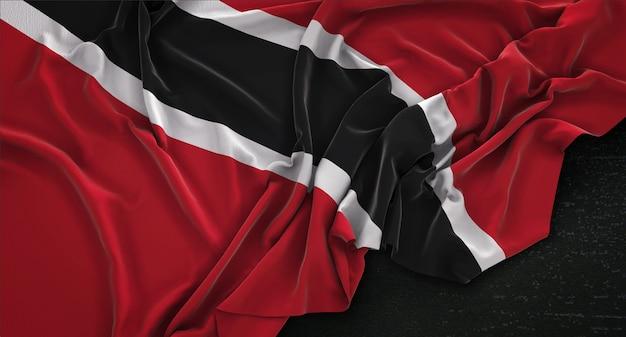 Trinidad and tobago flag wrinkled on dark background 3d render Free Photo