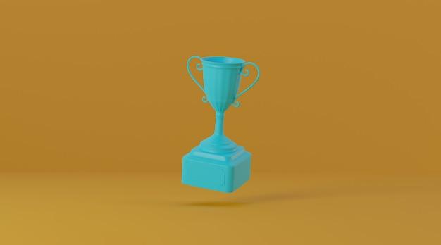 Trophy award on yellow background. Premium Photo