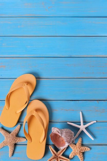 Tropical Beach Summer Flip Flops Starfish Background -1814