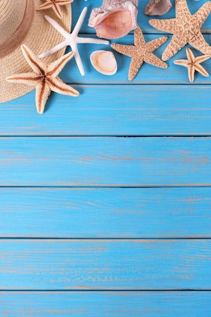 4b4a69150f23 Tropical beach summer starfish background border Premium Photo