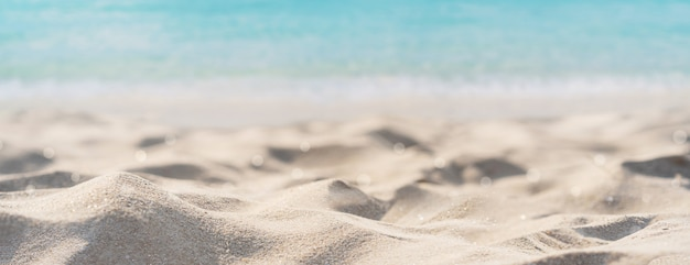 Tropical beautiful sand beach and clear water with copy space, summer vacation web banner Premium Photo