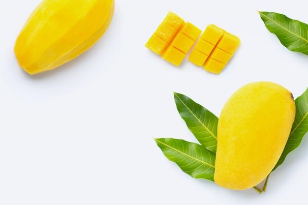 Tropical fruit, mango on white. Premium Photo
