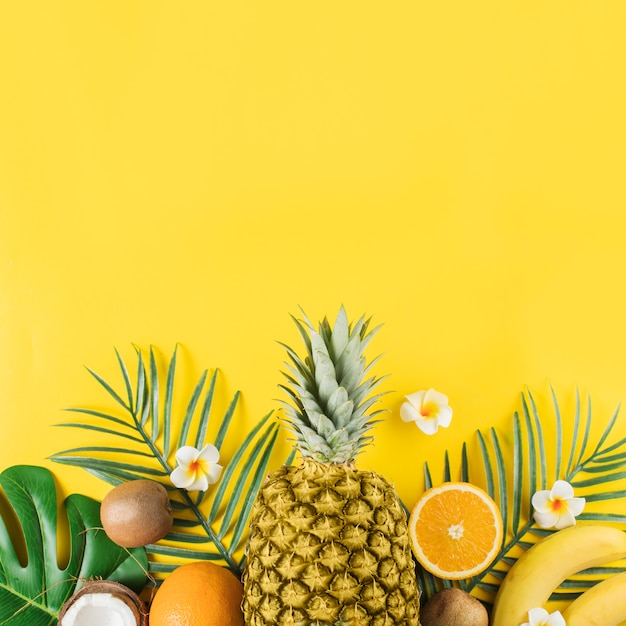 Тропические фрукты и зеленые растения Premium Фотографии