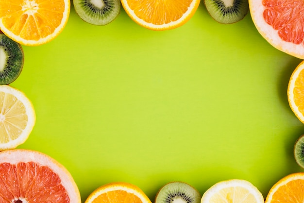 Tropical fruits background with copyspace Free Photo