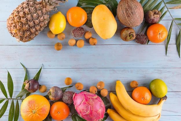 Tropical fruits and berries Premium Photo