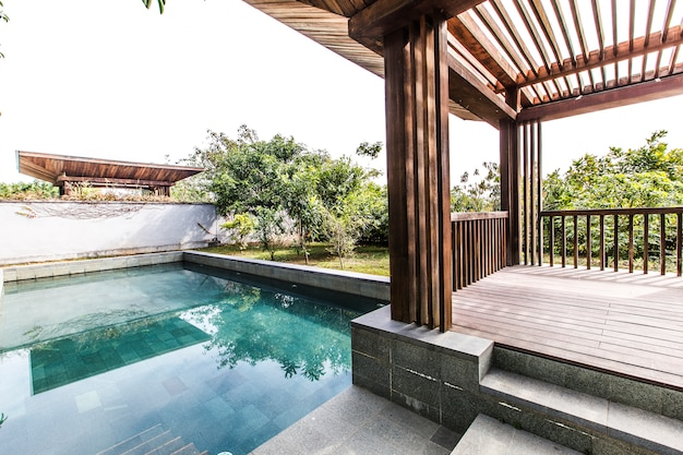tropical home luxury water sky Free Photo