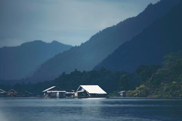 Tropical lake and mountain, nature view Premium Photo
