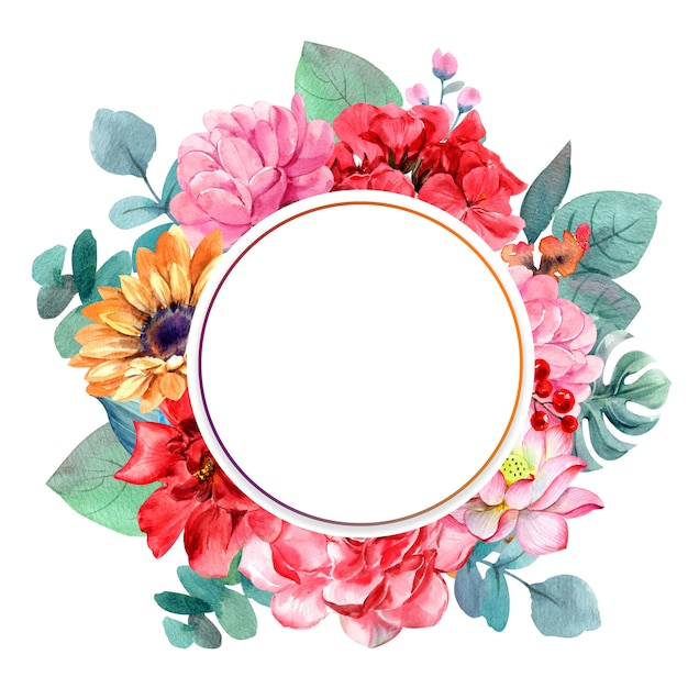 Tropical leaves with circle frame Premium Photo