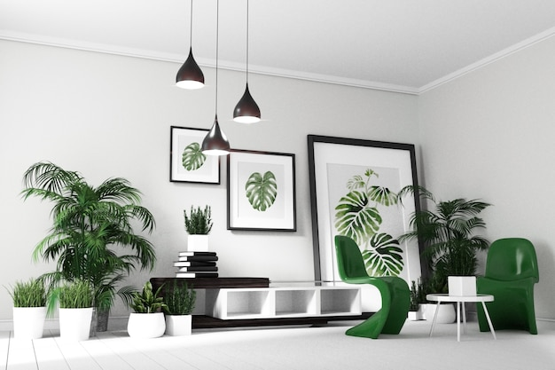 Tropical modern living room interior. 3D rendering Photo | Premium ...