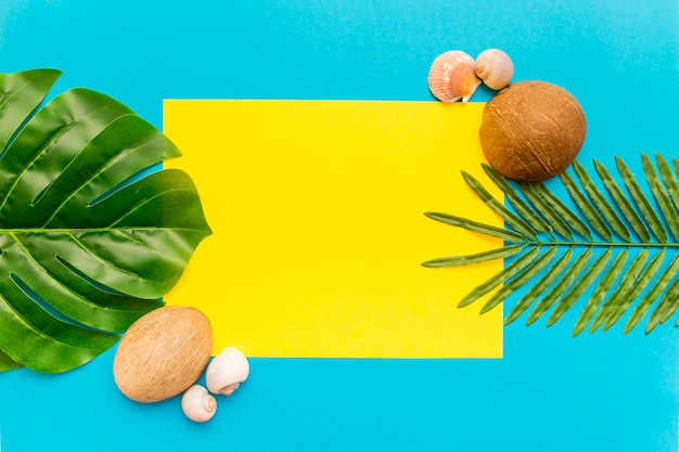 Free Photo Tropical Palm Leaves On Yellow And Blue Background Tropical flowers and leaves on yellow background vector image. tropical palm leaves on yellow