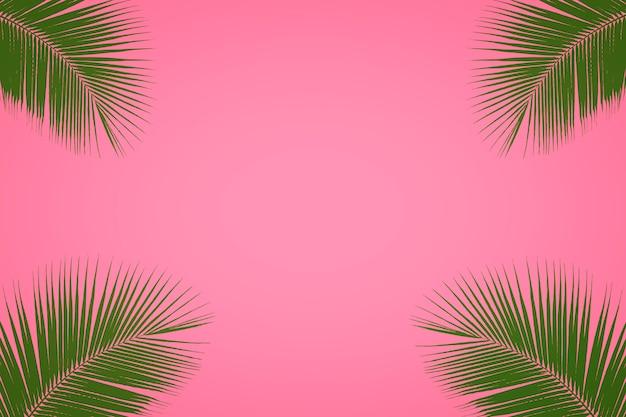 Тропические пальмовые листья на фоне пастельных розовых, летний фон Premium Фотографии