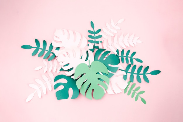 Tropical plants in the style of cut paper Free Photo