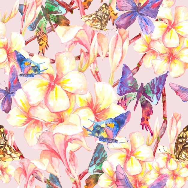 Tropical seamless pattern with exotic flowers Premium Photo