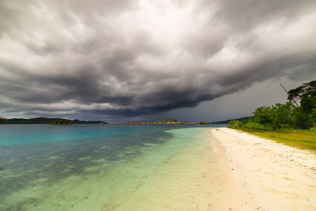 Tropical storm offshore on indonesian coastline Premium Photo