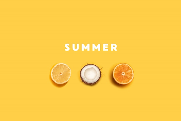 Tropical summer fruit pattern on yellow background Premium Photo