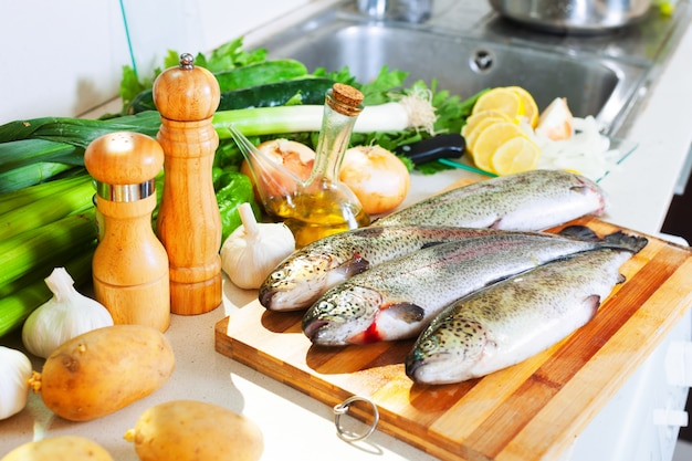 Trout fish in home kitchen Free Photo