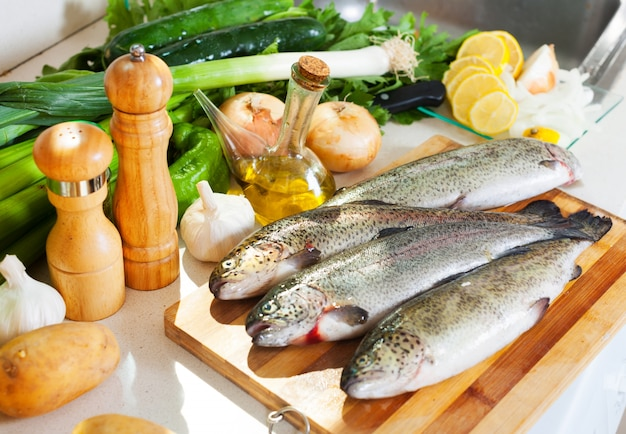 Trout fish in kitchen Free Photo
