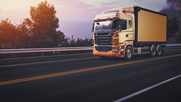 Truck on the road. 3d render and illustration. Premium Photo