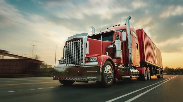 The truck runs on the highway with speed Premium Photo