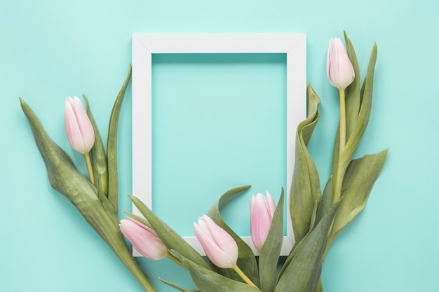 Tulip flowers with blank frame on table Free Photo