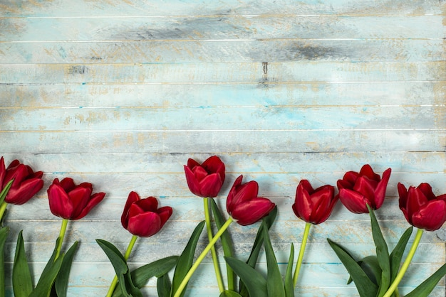 Tulips on a wooden patern background Premium Photo