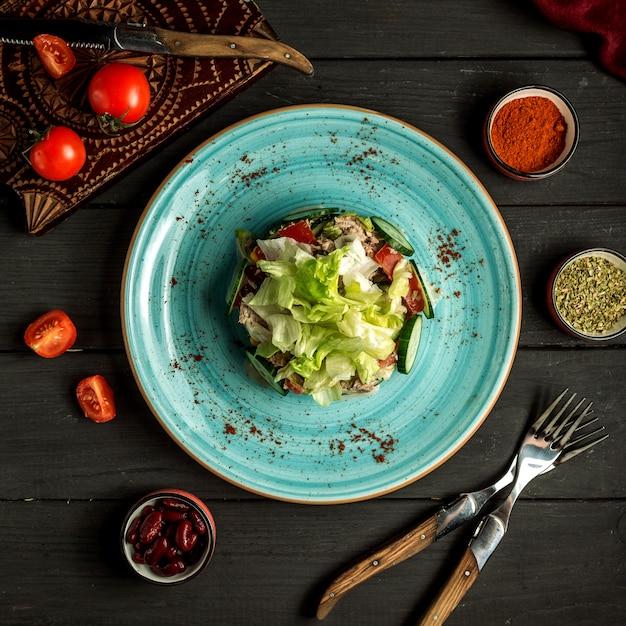 Tuna salad on the table top view Free Photo