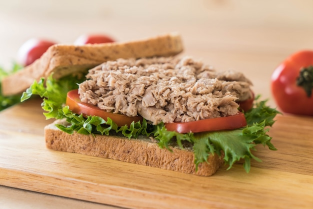 Tuna sandwich on wood Free Photo