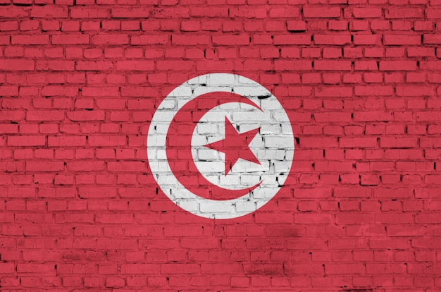 Tunisia flag is painted onto an old brick wall Premium Photo