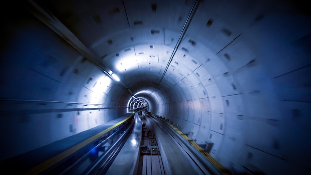 A tunnel for trains at the zurich airport, speed & technology concept Premium Photo