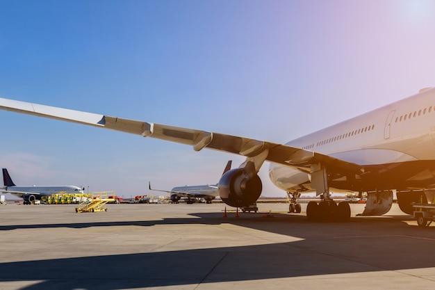 The turbine the aircraft plane is preparing to fly at the airplane on the runway at the airport. Premium Photo