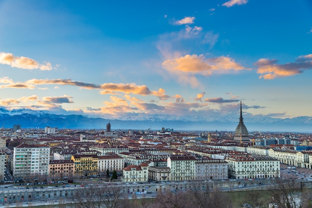 Turin skyline at dusk, torino, italy Premium Photo