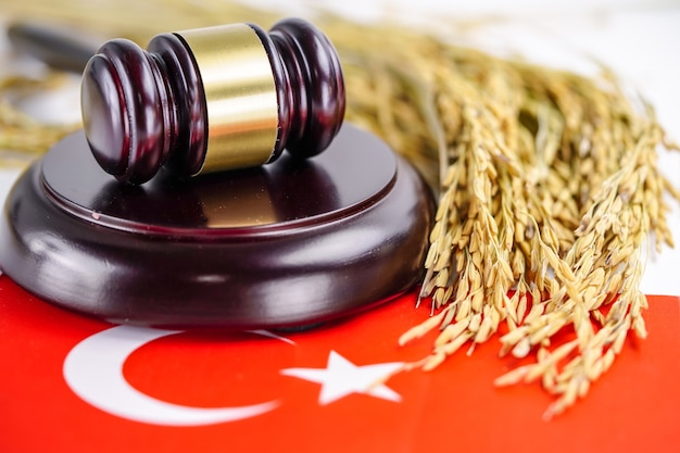 Turkey flag and judge hammer with gold grain from agriculture farm. Premium Photo