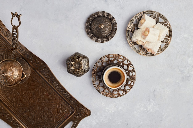 Turkish coffee set with jelly and lokum, top view. Free Photo