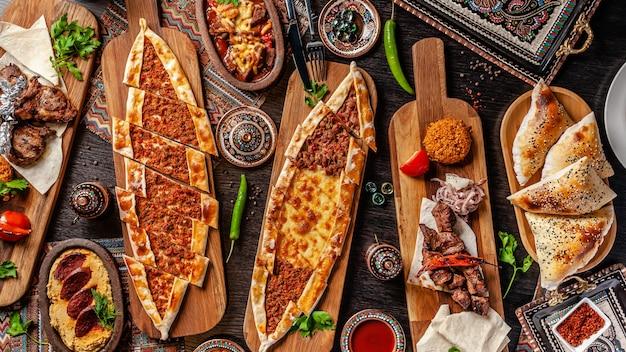 Turkish pizza pita with a different stuffing. Premium Photo