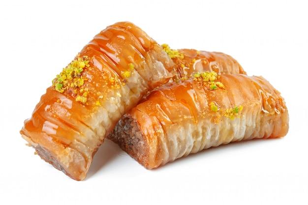Turkish ramadan dessert baklava isolated on white Premium Photo