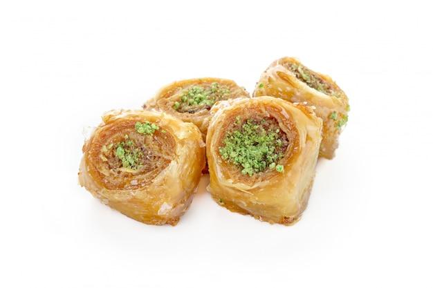 Turkish sweets on white Premium Photo